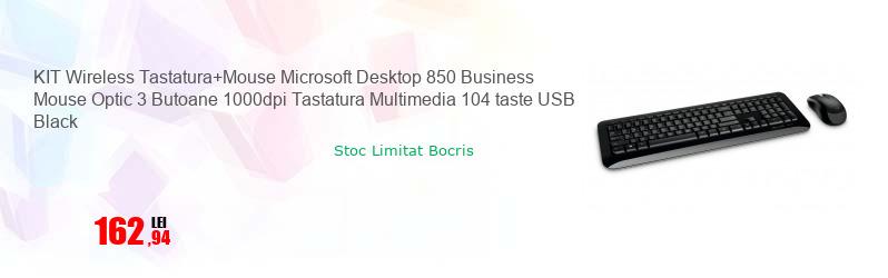 KIT Wireless Tastatura+Mouse Microsoft Desktop 850 Business Mouse Optic 3 Butoane 1000dpi Tastatura Multimedia 104 taste USB Black