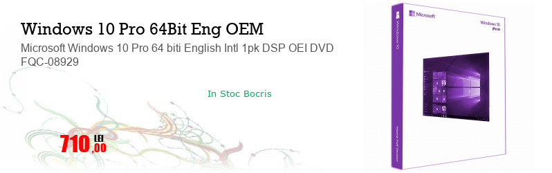 Microsoft Windows 10 Pro 64 biti English Intl 1pk DSP OEI DVD FQC-08929