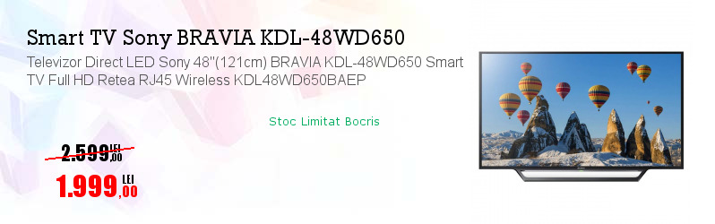 "Televizor Direct LED Sony 48""(121cm) BRAVIA KDL-48WD650 Smart TV Full HD Retea RJ45 Wireless KDL48WD650BAEP"