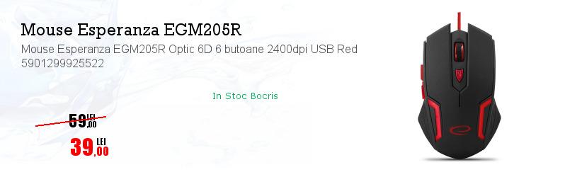 Mouse Esperanza EGM205R Optic 6D 6 butoane 2400dpi USB Red 5901299925522