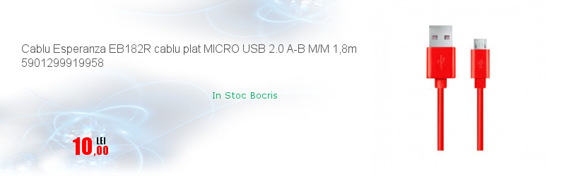 Cablu Esperanza EB182R cablu plat MICRO USB 2.0 A-B M/M 1,8m 5901299919958