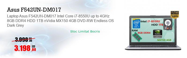 Laptop Asus F542UN-DM017 Intel Core i7-8550U up to 4GHz 8GB DDR4 HDD 1TB nVidia MX150 4GB DVD-RW Endless OS Dark Grey