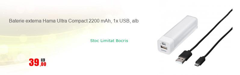 Baterie externa Hama Ultra Compact 2200 mAh, 1x USB, alb