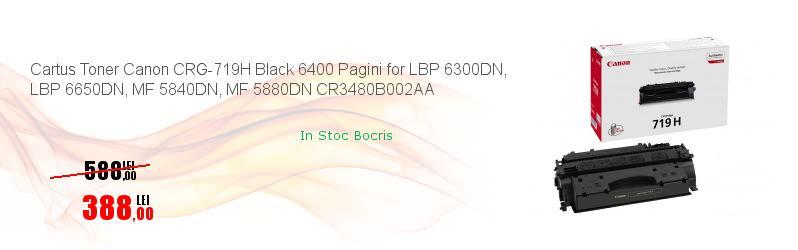 Cartus Toner Canon CRG-719H Black 6400 Pagini for LBP 6300DN, LBP 6650DN, MF 5840DN, MF 5880DN CR3480B002AA