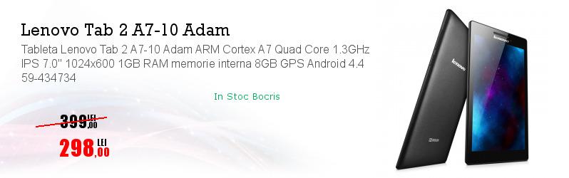 "Tableta Lenovo Tab 2 A7-10 Adam ARM Cortex A7 Quad Core 1.3GHz IPS 7.0"" 1024x600 1GB RAM memorie interna 8GB GPS Android 4.4 59-434734"