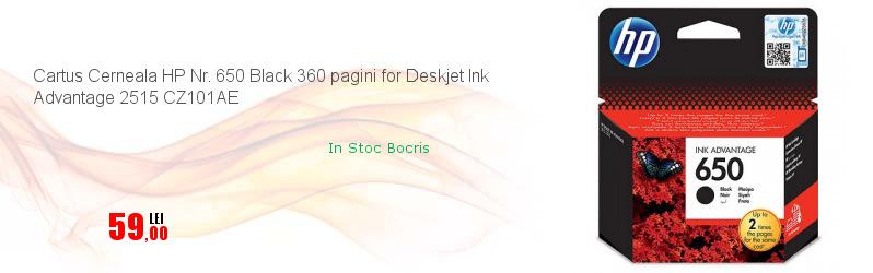 Cartus Cerneala HP Nr. 650 Black 360 pagini for Deskjet Ink Advantage 2515 CZ101AE