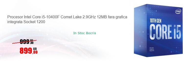 Procesor Intel Core i5-10400F Comet Lake 2.9GHz 12MB fara grafica integrata Socket 1200