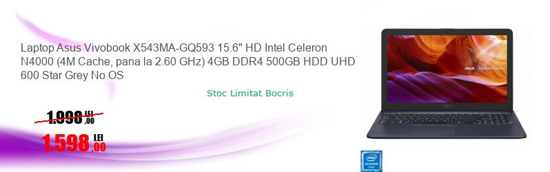 "Laptop Asus Vivobook X543MA-GQ593 15.6"" HD Intel Celeron N4000 (4M Cache, pana la 2.60 GHz) 4GB DDR4 500GB HDD UHD 600 Star Grey No OS"