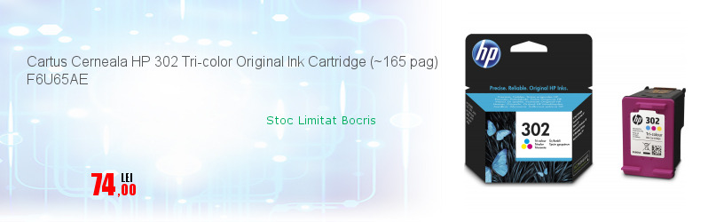 Cartus Cerneala HP 302 Tri-color Original Ink Cartridge (~165 pag) F6U65AE