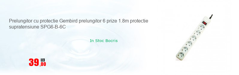 Prelungitor cu protectie Gembird prelungitor 6 prize 1.8m protectie supratensiune SPG6-B-6C