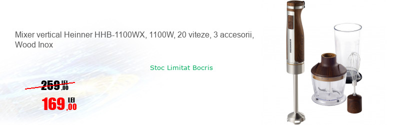 Mixer vertical Heinner HHB-1100WX, 1100W, 20 viteze, 3 accesorii, Wood Inox