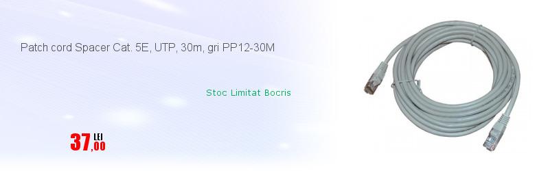 Patch cord Spacer Cat. 5E, UTP, 30m, gri PP12-30M