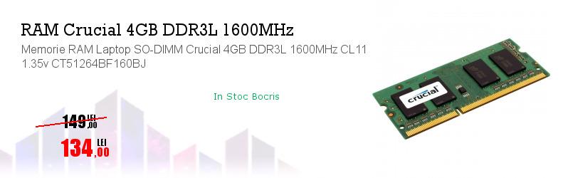 Memorie RAM Laptop SO-DIMM Crucial 4GB DDR3L 1600MHz CL11 1.35v CT51264BF160BJ