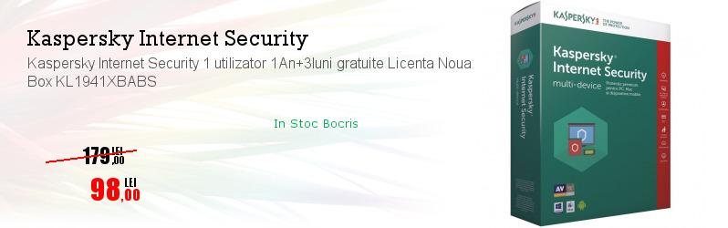 Kaspersky Internet Security 1 utilizator 1An+3luni gratuite Licenta Noua Box KL1941XBABS