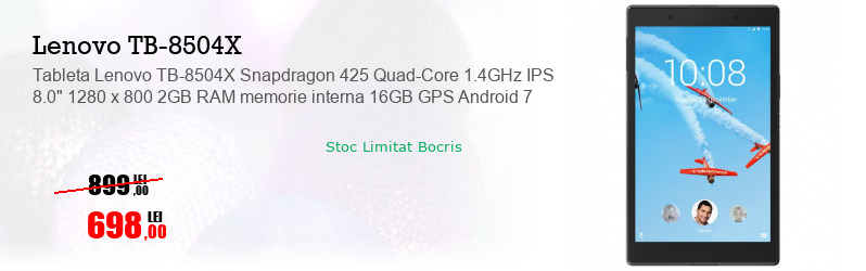 "Tableta Lenovo TB-8504X Snapdragon 425 Quad-Core 1.4GHz IPS 8.0"" 1280 x 800 2GB RAM memorie interna 16GB GPS Android 7"