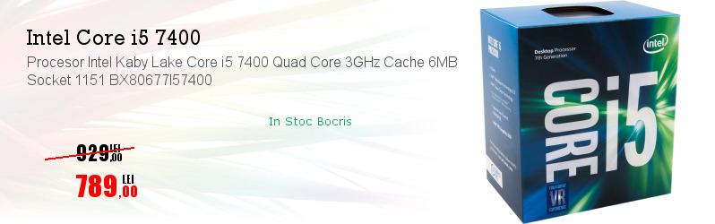 Procesor Intel Kaby Lake Core i5 7400 Quad Core 3GHz Cache 6MB Socket 1151 BX80677I57400