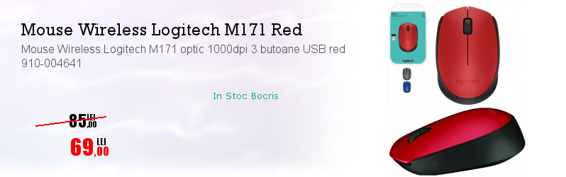 Mouse Wireless Logitech M171 optic 1000dpi 3 butoane USB red 910-004641