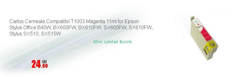 Cartus Cerneala Compatibil T1003 Magenta 11ml for Epson Stylus Office B40W, BX600FW, BX610FW, SX600FW, SX610FW, Stylus SX510, SX515W