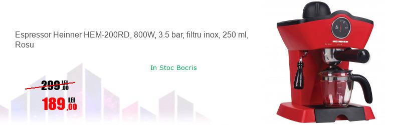 Espressor Heinner HEM-200RD, 800W, 3.5 bar, filtru inox, 250 ml, Rosu