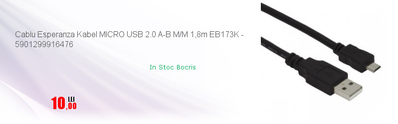 Cablu Esperanza Kabel MICRO USB 2.0 A-B M/M 1,8m EB173K - 5901299916476