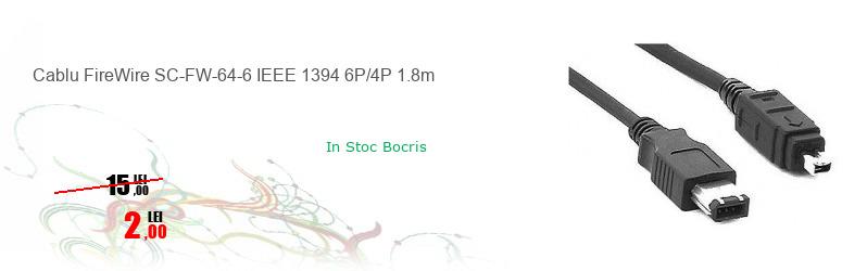 Cablu FireWire SC-FW-64-6 IEEE 1394 6P/4P 1.8m