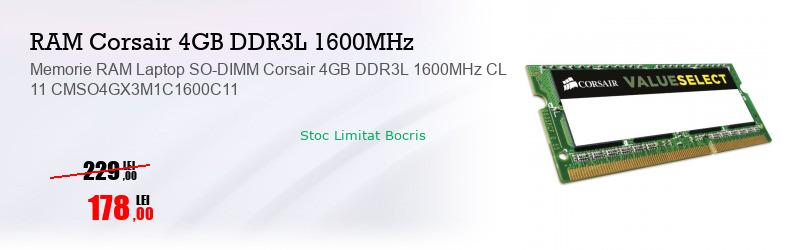 Memorie RAM Laptop SO-DIMM Corsair 4GB DDR3L 1600MHz CL 11 CMSO4GX3M1C1600C11