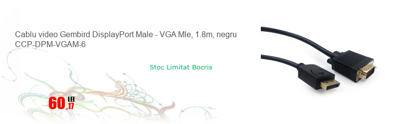 Cablu video Gembird DisplayPort Male - VGA Mle, 1.8m, negru CCP-DPM-VGAM-6