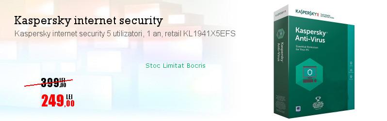 Kaspersky internet security 5 utilizatori, 1 an, retail KL1941X5EFS