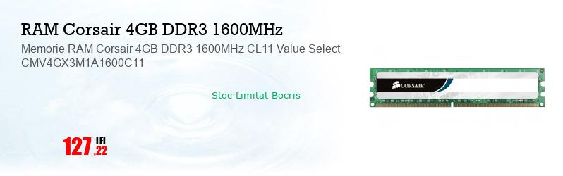 Memorie RAM Corsair 4GB DDR3 1600MHz CL11 Value Select CMV4GX3M1A1600C11