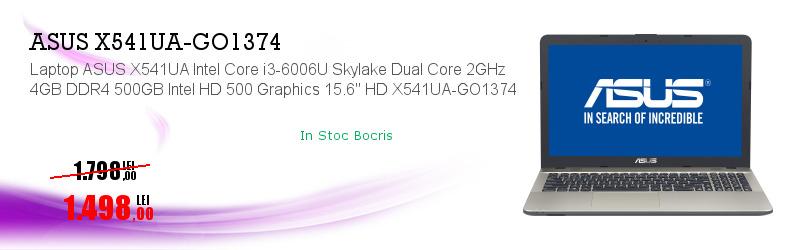 "Laptop ASUS X541UA Intel Core i3-6006U Skylake Dual Core 2GHz 4GB DDR4 500GB Intel HD 500 Graphics 15.6"" HD X541UA-GO1374"