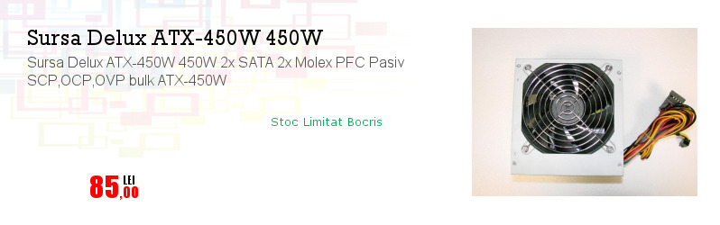 Sursa Delux ATX-450W 450W 2x SATA 2x Molex PFC Pasiv SCP,OCP,OVP bulk ATX-450W