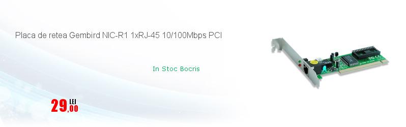 Placa de retea Gembird NIC-R1 1xRJ-45 10/100Mbps PCI