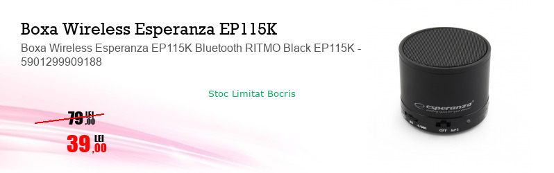 Boxa Wireless Esperanza EP115K Bluetooth RITMO Black EP115K - 5901299909188
