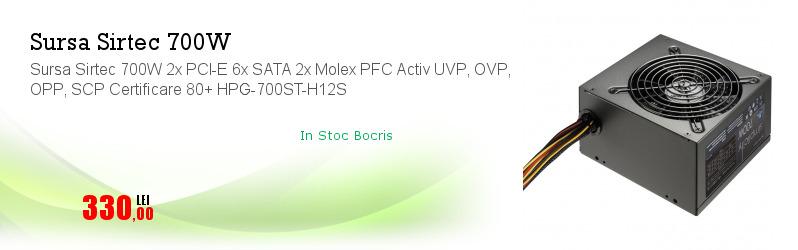Sursa Sirtec 700W 2x PCI-E 6x SATA 2x Molex PFC Activ UVP, OVP, OPP, SCP Certificare 80+ HPG-700ST-H12S