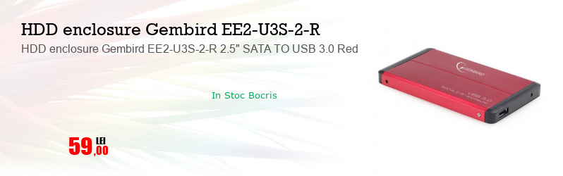 """HDD enclosure Gembird EE2-U3S-2-R 2.5"""" SATA TO USB 3.0 Red"""