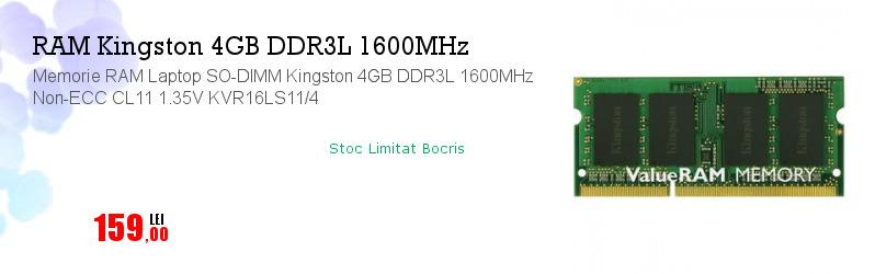 Memorie RAM Laptop SO-DIMM Kingston 4GB DDR3L 1600MHz Non-ECC CL11 1.35V KVR16LS11/4