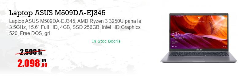 "Laptop ASUS M509DA-EJ345, AMD Ryzen 3 3250U pana la 3.5GHz, 15.6"" Full HD, 4GB, SSD 256GB, Intel HD Graphics 520, Free DOS, gri"