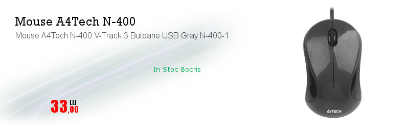 Mouse A4Tech N-400 V-Track 3 Butoane USB Gray N-400-1