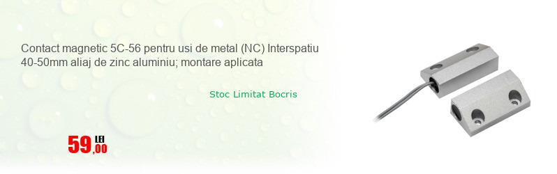 Contact magnetic 5C-56 pentru usi de metal (NC) Interspatiu 40-50mm aliaj de zinc aluminiu; montare aplicata
