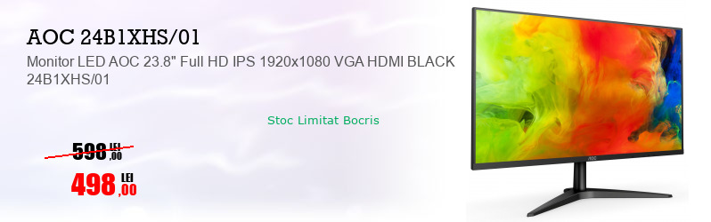 "Monitor LED AOC 23.8"" Full HD IPS 1920x1080 VGA HDMI BLACK 24B1XHS/01"