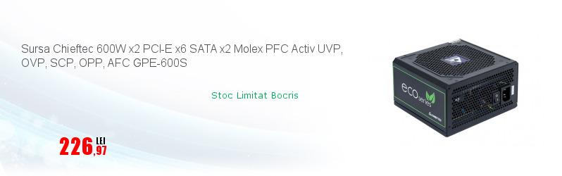 Sursa Chieftec 600W x2 PCI-E x6 SATA x2 Molex PFC Activ UVP, OVP, SCP, OPP, AFC GPE-600S