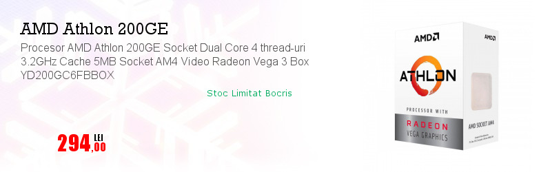 Procesor AMD Athlon 200GE Socket Dual Core 4 thread-uri 3.2GHz Cache 5MB Socket AM4 Video Radeon Vega 3 Box YD200GC6FBBOX