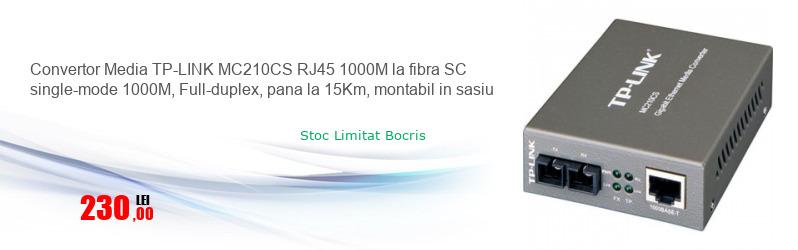 Convertor Media TP-LINK MC210CS RJ45 1000M la fibra SC single-mode 1000M, Full-duplex, pana la 15Km, montabil in sasiu