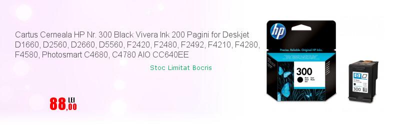 Cartus Cerneala HP Nr. 300 Black Vivera Ink 200 Pagini for Deskjet D1660, D2560, D2660, D5560, F2420, F2480, F2492, F4210, F4280, F4580, Photosmart C4680, C4780 AIO CC640EE