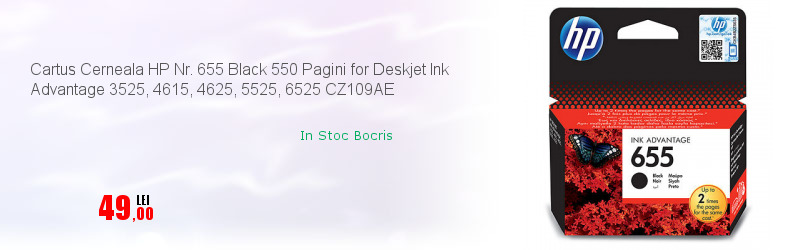 Cartus Cerneala HP Nr. 655 Black 550 Pagini for Deskjet Ink Advantage 3525, 4615, 4625, 5525, 6525 CZ109AE