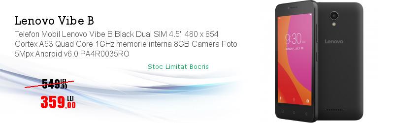 "Telefon Mobil Lenovo Vibe B Black Dual SIM 4.5"" 480 x 854 Cortex A53 Quad Core 1GHz memorie interna 8GB Camera Foto 5Mpx Android v6.0 PA4R0035RO"