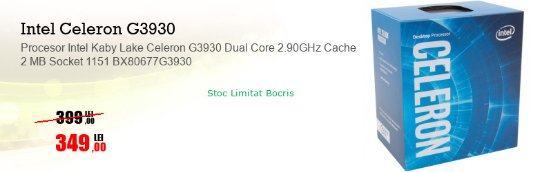 Procesor Intel Kaby Lake Celeron G3930 Dual Core 2.90GHz Cache 2 MB Socket 1151 BX80677G3930
