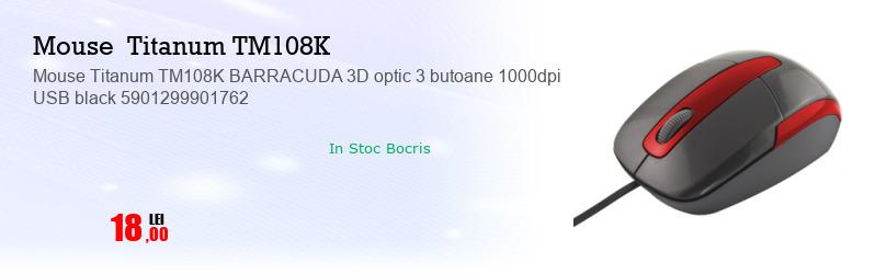 Mouse Titanum TM108K BARRACUDA 3D optic 3 butoane 1000dpi USB black 5901299901762