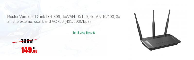 Router Wireless D-link DIR-809, 1xWAN 10/100, 4xLAN 10/100, 3x antene externe, dual-band AC750 (433/300Mbps)