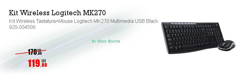Kit Wireless Tastatura+Mouse Logitech MK270 Multimedia USB Black 920-004508